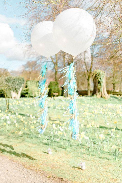 Giant Balloons with Tissue Tassel Ribbons Wedding Decor
