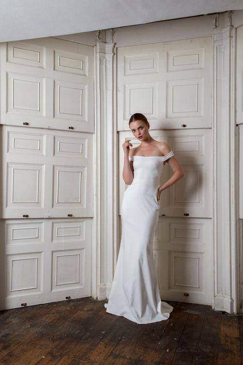HARBOUR DRESS by Halfpenny London //  Bardot Neckline Wedding Dresses