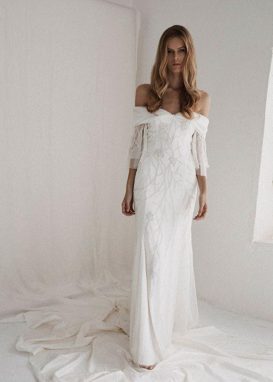 Isla Dress by Bo & Luca // Bardot Neckline Wedding Dresses