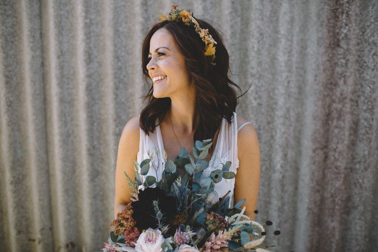 Bride In Vintage Floral Crown // Image By Carrie Lavers Photography