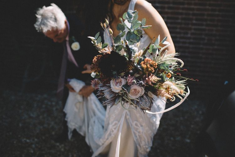 Rose, Dried Grass & Foliage Bouquet // Image By Carrie Lavers Photography