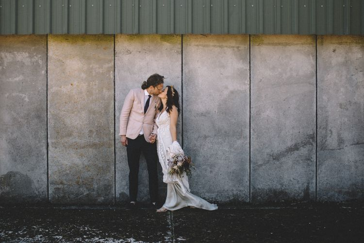 Groom In Pink Jacket // Image By Carrie Lavers Photography