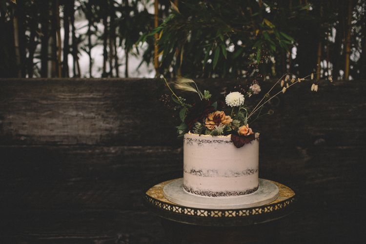 Semi Naked Wedding Cake // Groom In Pink Jacket // Image By Carrie Lavers Photography