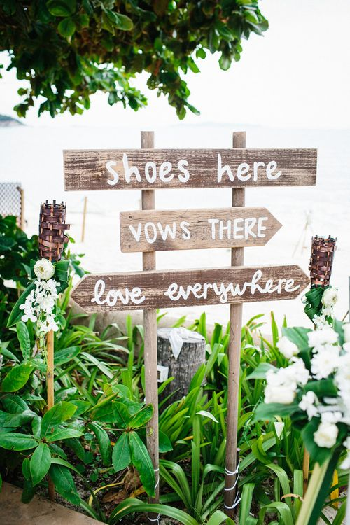 Shoes here, vows there, love everywhere wedding sign