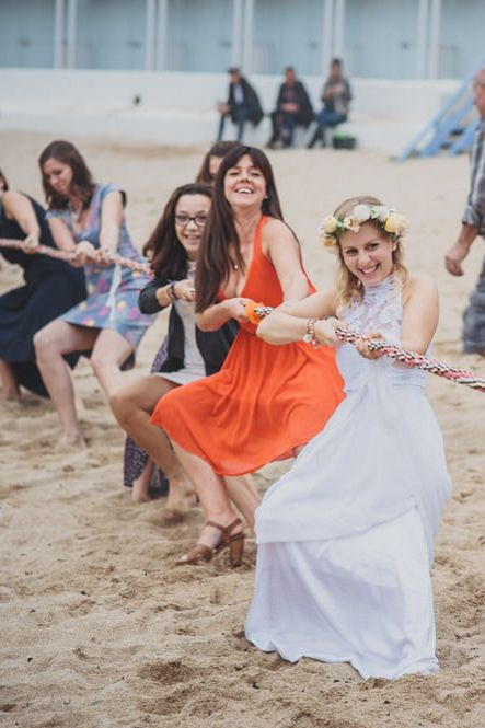 tug of war game for beach weddings