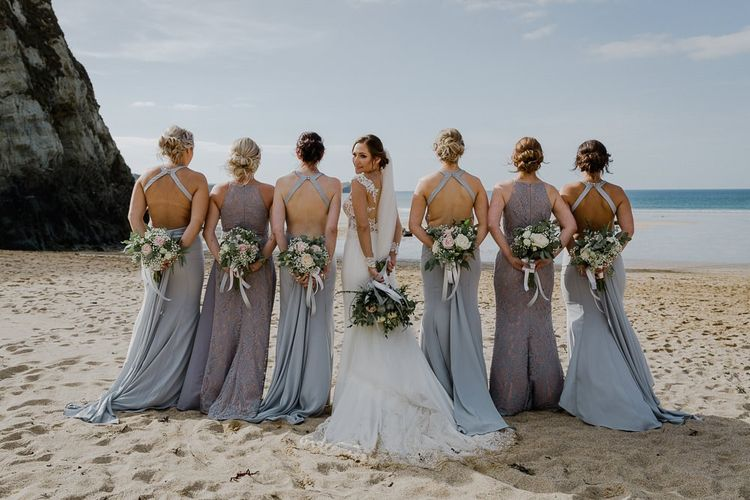 Bridesmaids portrait at Lusty Glaze Beach Weddings