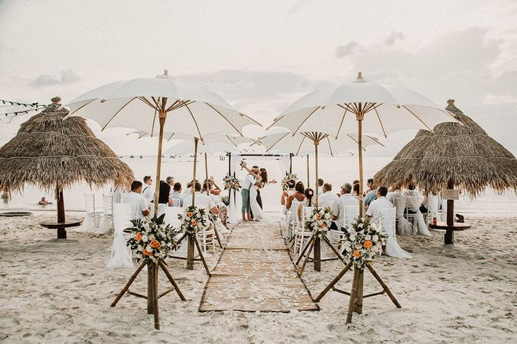 Beach Weddings Ceremony with Parasols