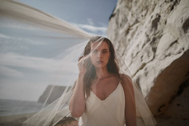 Bridal Slip Dress With Tulle Veil Styled By Beatnik Bride With Images From Benjamin Wheeler Photography