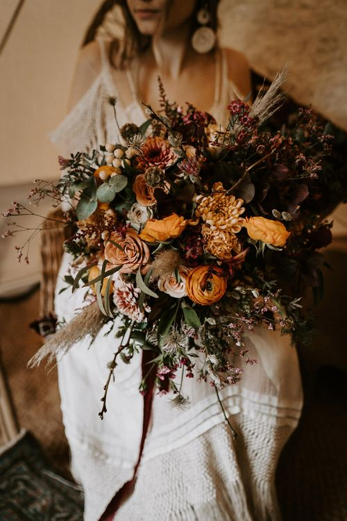 Giant Burnt Orange Wedding Bouquet with Dried Grasses and Foliage