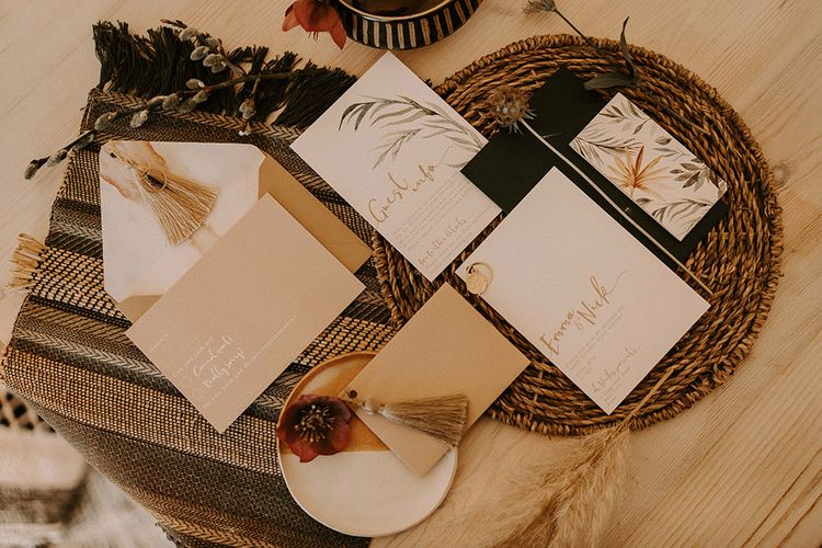 Wedding Stationery Suit with Neutral Colour Palette  Dried Grass Design and Tassels