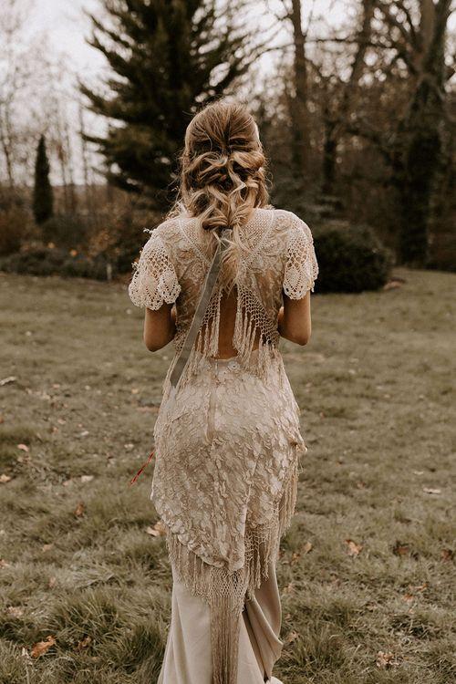 Boho Lace Wedding Dress with Open Back and Fringe Detail