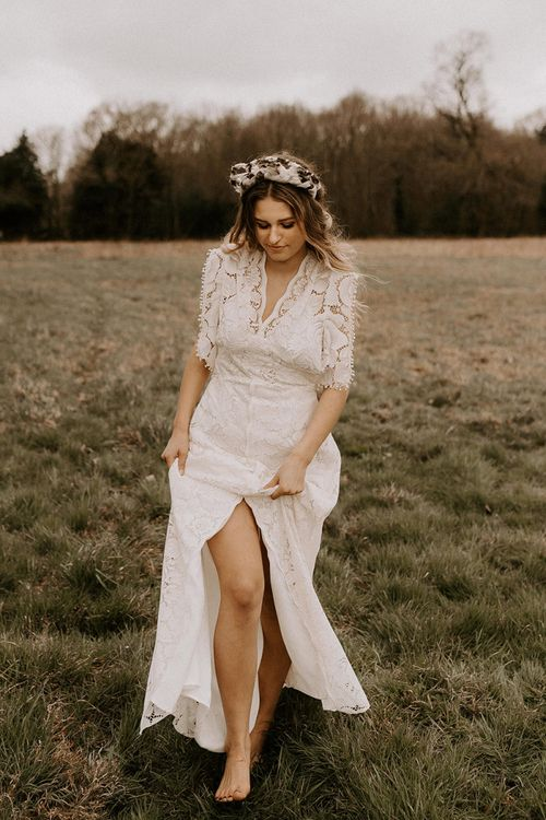 Boho Bride in Turban Headband and Lace Wedding Dress with Front Split