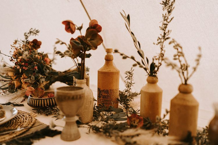 Ink Bottles Filled with Dried Flowers and Grasses