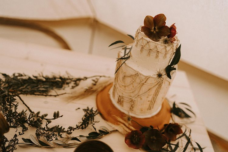 Macrame Wedding Cake with Flower Decor