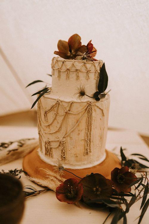 Two Tier Wedding Cake with Macrame Decor