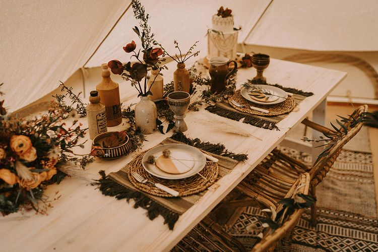 Sweetheart Table with Wicker Place Mats, Ink Bottle Centrepieces and Dried Flower Decor