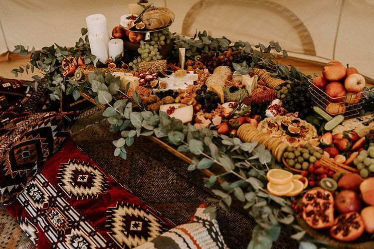 Low Grazing Table with Fresh Fruit, Vegetables, Cheeses and Crackers