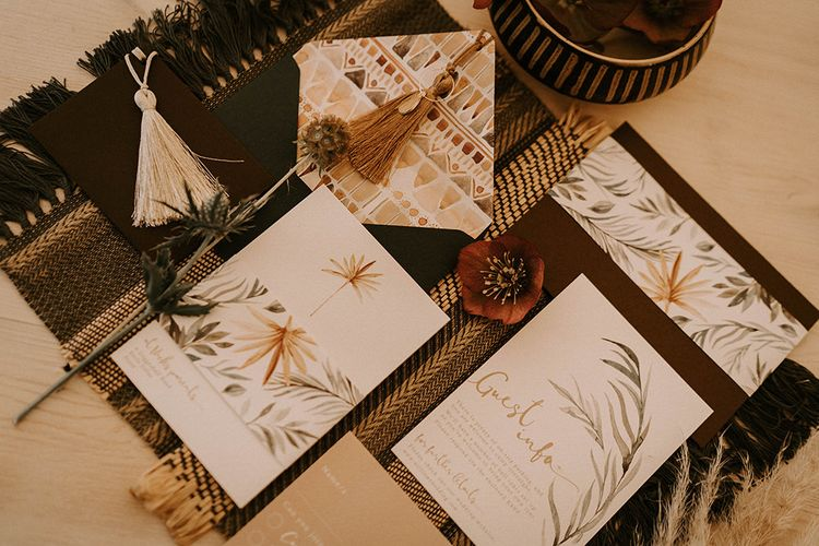 Boho Stationery Suit with Dried Grass Motif and Tassel Details