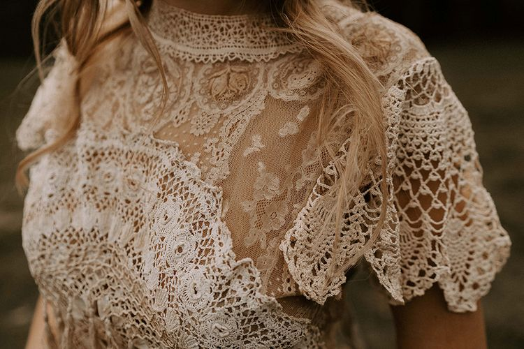 Crochet and Lace Boho Wedding Dress with High Neck and Cap Sleeves