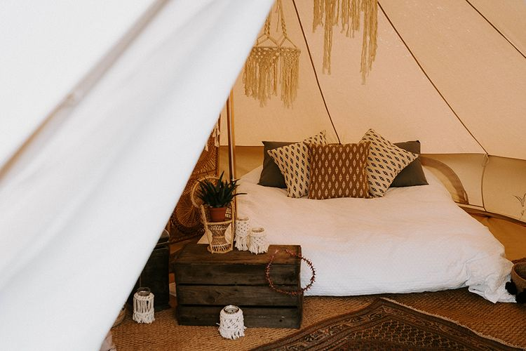 Bell Tent with Comfy Bed, Wooden Crate sand Hanging Macrame Decor