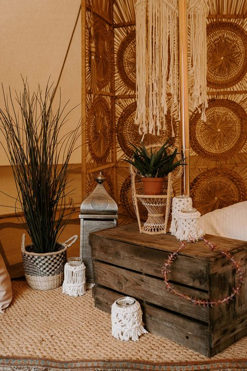 Wicker Screen, Wooden Crates, Storm Lantern and Potted Plants Bell Tent Decor