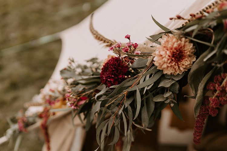 Foliage and Dahlia Wedding Flower Decor for the Bell Tent Entrance