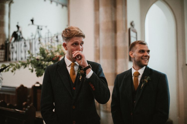Groom In Vintage Suit Hire Wedding Suit // Anna Kara Bridal // James Frost Photography // DIY Village Hall Wedding Lilley // C of E Wedding Ceremony // Vinyl Record Wedding Favours