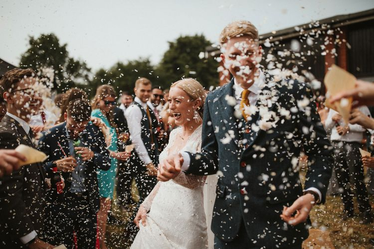Confetti Shot // Anna Kara Bridal // James Frost Photography // DIY Village Hall Wedding Lilley // C of E Wedding Ceremony // Vinyl Record Wedding Favours