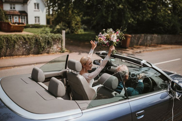 Open Top Wedding Car // Anna Kara Bridal // James Frost Photography // DIY Village Hall Wedding Lilley // C of E Wedding Ceremony // Vinyl Record Wedding Favours