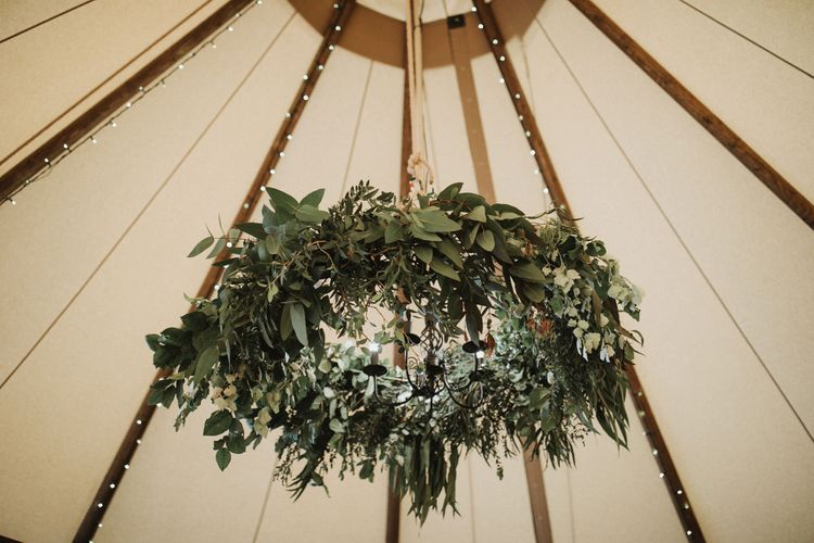 Foliage Chandelier For Wedding Tipi // Anna Kara Bridal // James Frost Photography // DIY Village Hall Wedding Lilley // C of E Wedding Ceremony // Vinyl Record Wedding Favours