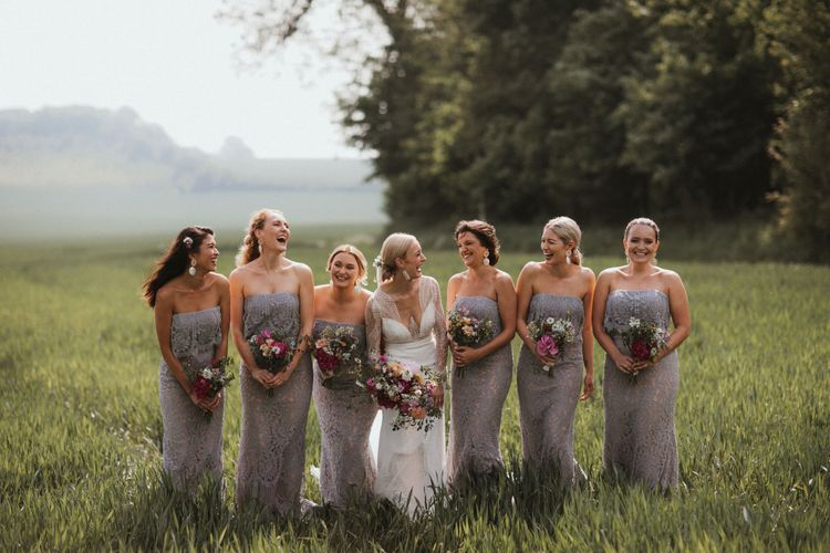 Bridesmaids In Pale Grey Dresses // Anna Kara Bridal // James Frost Photography // DIY Village Hall Wedding Lilley // C of E Wedding Ceremony // Vinyl Record Wedding Favours