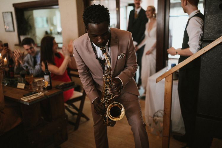 Wedding Saxophonist // Anna Kara Bridal // James Frost Photography // DIY Village Hall Wedding Lilley // C of E Wedding Ceremony // Vinyl Record Wedding Favours