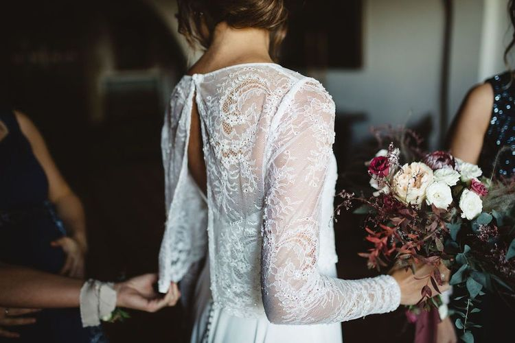 Jordi Anguera Wedding Dress with Lace Overlay