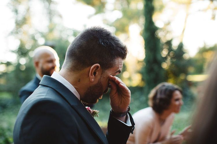 Emotional Groom at the Wedding Ceremony