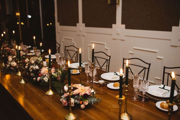 Elegant Table Decor with Candle Light and Floral Centrepieces