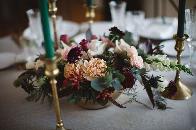 Floral Table Centrepiece in Gold Vessel