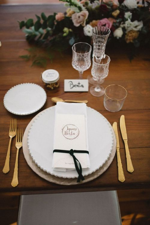 Place Setting with Gold Cutlery