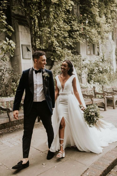 Stylish black bride and groom for Devonshire Terrace wedding in London