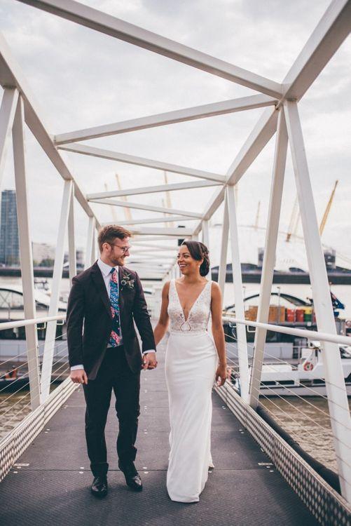 Stylish black bride at Trinity Buoy Wharf wedding
