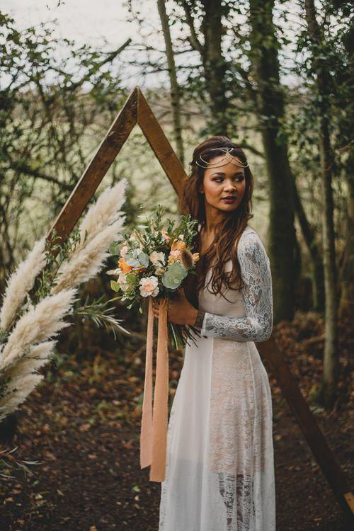 Boho black bride for woodland shoot