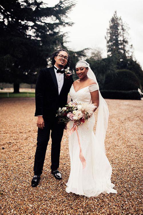 Black bride in Juliet cap wedding veil