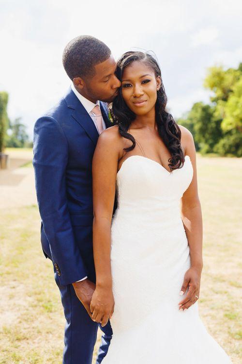 Black bride in strapless wedding dress