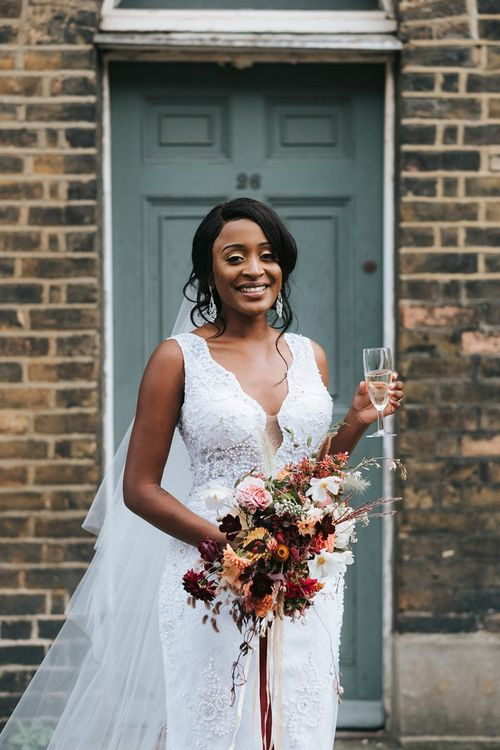 Black Bride in lace wedding dress for city wedding