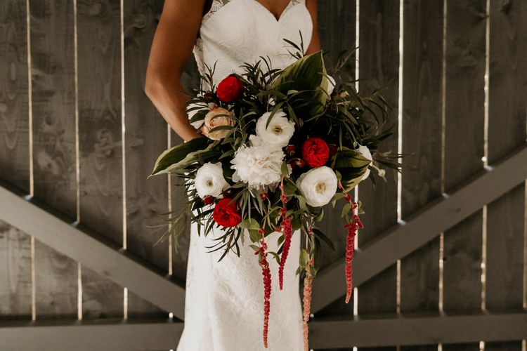 Giant Red, White and Foliage Wedding Bouquet