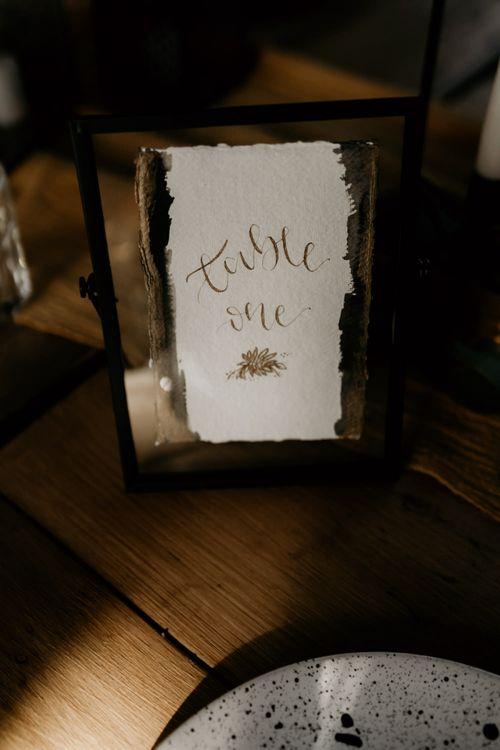 Gold Foil Table Number Sign in Black Frame