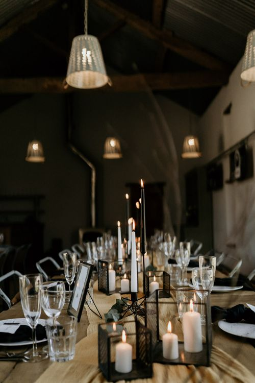Black Candle Sticks and Hurricane Lamps with Taper Candles