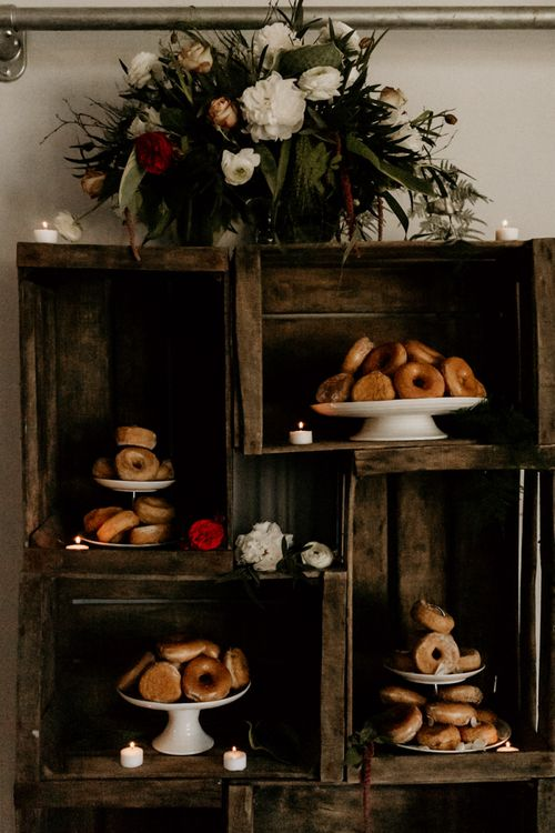Doughnut Station on Wooden Crates and Cake Stands