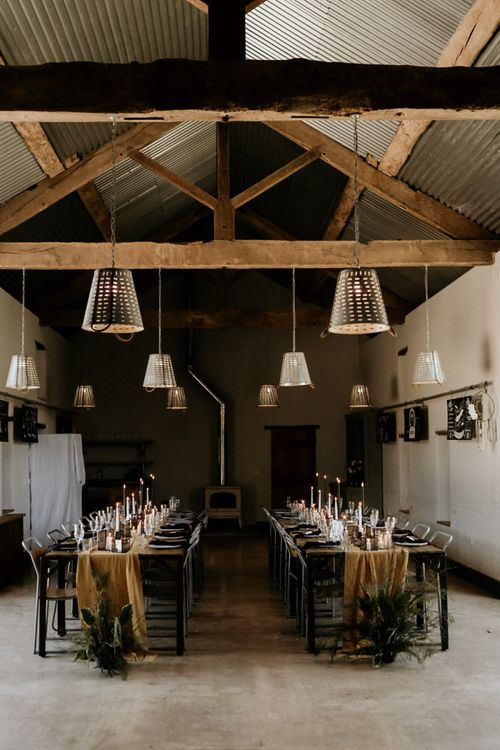 Industrial Barn Wedding Decor with Trestle Tables, Table Runner and Taper Candles