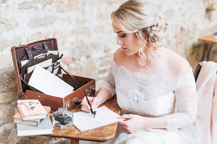 Calligraphy Love Letter | Bride in Lace Bardot Wedding Dress | Blush Pink, Romantic, Country Wedding Inspiration at Tithe Barn, Dorset | Darima Frampton Photography