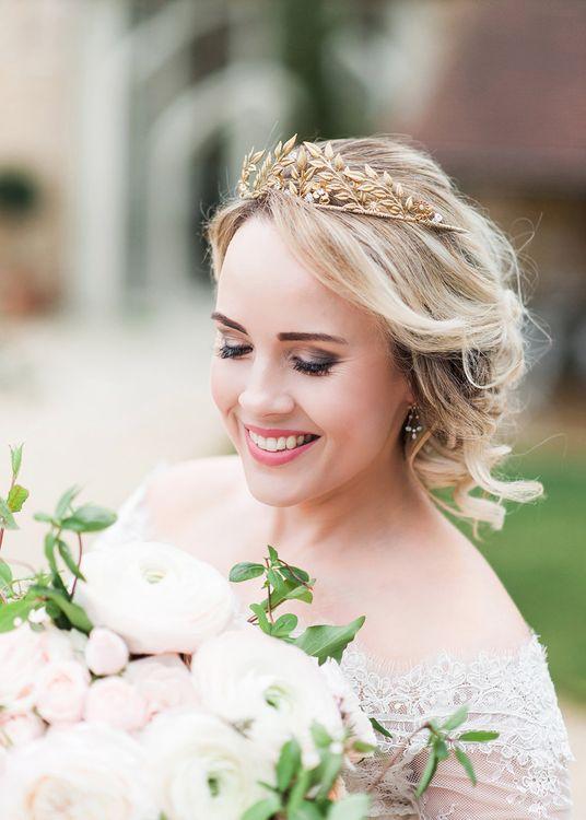 Bridal Beauty | Gold Bridal Headpiece | Bride in Lace, Bardot Bridal Gown | Blush Pink, Romantic, Country Wedding Inspiration at Tithe Barn, Dorset | Darima Frampton Photography